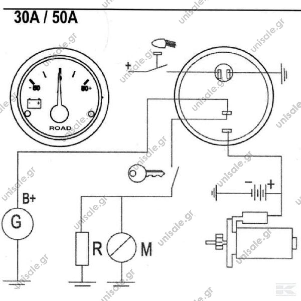 I00001 VDO Ammeter Gauge 30-0-30 Amps Ampermeter 30-30