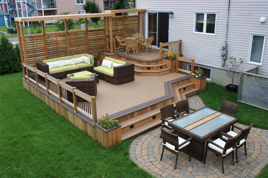 wisconsin backyard deck with chairs