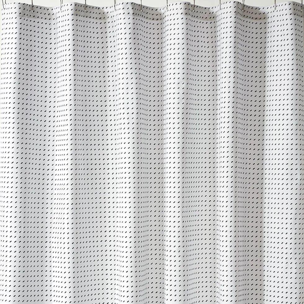 stitch white black shower curtain