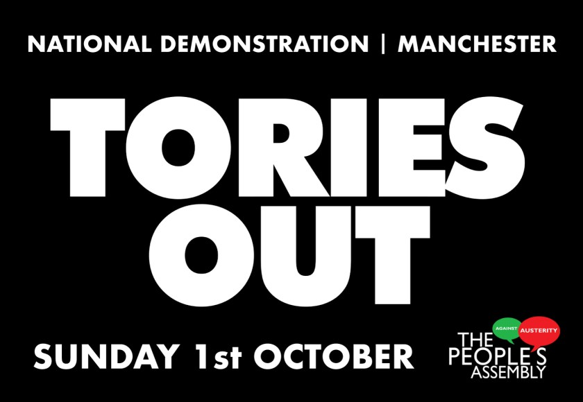 Image of flyer for Tories Out demonstration in Manchester on Sunday 1st October