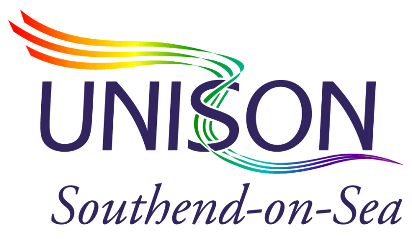 Image of UNISON Southend-on-Sea logo with LGBT rainbow coloured ribbons