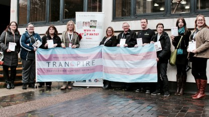 Group photograph of Transpire and UNISON Southend-on-Sea members at Transgender Day of Remembrance event at Southend-on-Sea Borough Council.