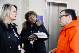 Photograph of discussion at the UNISON Fair Pay Now! Lobby before the full meeting fo Southend-on-Sea Borough Council on Thursday 14th December.