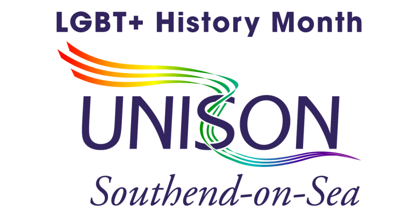 Announcement image of LGBT+ History Month including UNISON Southend-on-Sea logo with LGBT Rainbow Flag coloured ribbons.