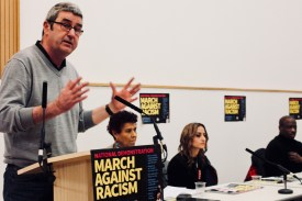 Photograph of Dominic Byrne (National Education Union (NEU)) addressing trade unionists at the Stand Up To Racism - Trade Union Conference. (10.02.18)