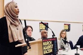 Photograph of Rakhia Ismail (Labour Councillor, Islington) addressing trade unionists at the Stand Up To Racism - Trade Union Conference. (10.02.18)