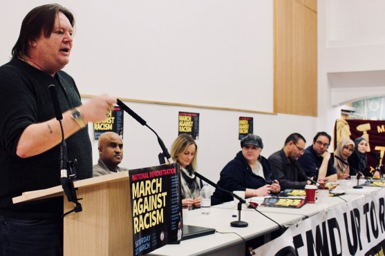 Photograph of Ian Hodson (National President, Bakers Food and Allied Workers Union (BFAWU)) addressing trade unionists at the Stand Up To Racism - Trade Union Conference (10.02.18)
