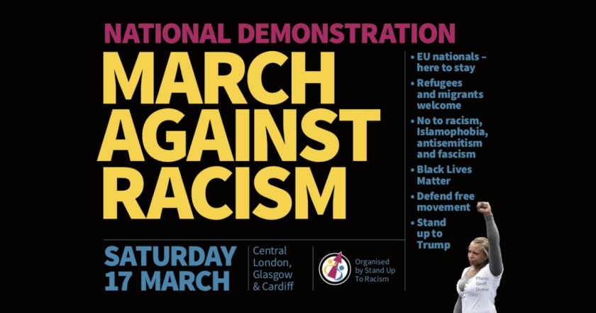 Social media announcement graphic for MARCH AGAINST RACISM on Saturday 17th March 2018.