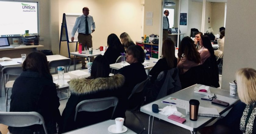 Photograph of UNISON Southend-on-Sea members at a 'Managing Challenging Behaviour' training course.
