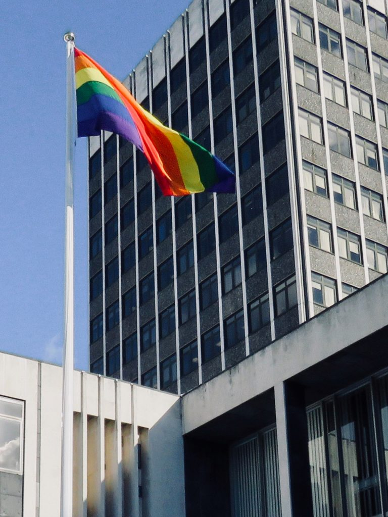 Photograph of the Rainbow Flag flying high at the Civic Centre, Southend-on-Sea Borough Council.