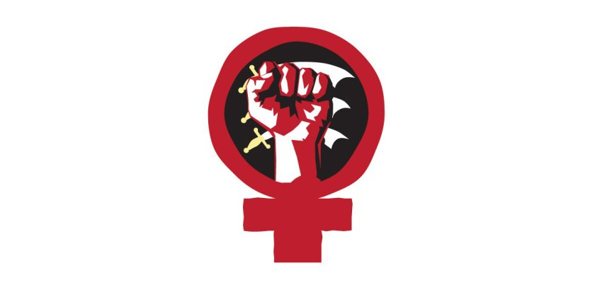 Image of the Essex Feminist Collective's combined Venus and raised fist symbol.