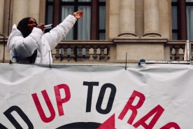 Photograph of singer-songwriter Ray BLK welcoming MARCH AGAINST RACISM demonstrators at Whitehall, London. (17 March 2018)