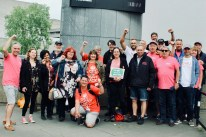 Photograph of UNISON Southend-on-Sea, PCS (Public and Commercial Services Union) and CWU (Communication Workers Union) members at TUC march and rally on 12 May 2018.