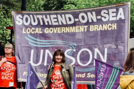Photograph of Claire Wormald (Secretary, UNISON Southend-on-Sea) and Ray Lacey (Member, UNISON Southend-on-Sea) at TUC march and rally on 12 May 2018.