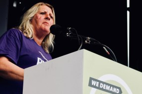 Photograph of UNISON member addressing TUC rally at Hyde Park, London. (12 May 2018)