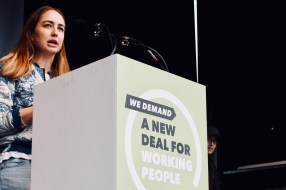 Photograph of NEU member addressing TUC rally at Hyde Park, London. (12 May 2018)