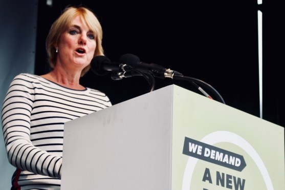 Photograph of Gill Walton (CEO Royal College of Midwives (RCM)) addressing TUC rally at Hyde Park, London. (12 May 2018)