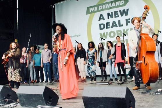 Melissa James performing at TUC rally at Hyde Park, London. (12 May 2018)