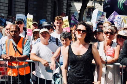 Photograph of demonstrators at 'Our NHS is 70' rally at Westminster, London. (30 June 2018)