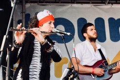 Photograph of Rhoda Dakar's musicians performing at 'Our NHS is 70' rally at Westminster, London. (30 June 2018)