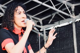 Photograph of Rhoda Dakar performing at 'Our NHS is 70' rally at Westminster, London. (30 June 2018)