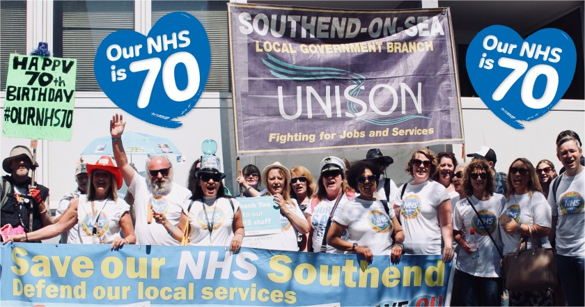 Photograph of UNISON Southend-on-Sea members and Save Our Southend NHS campaigners at the Our NHS is 70 Celebration & Demonstration in London on Saturday 30th June, 2018.