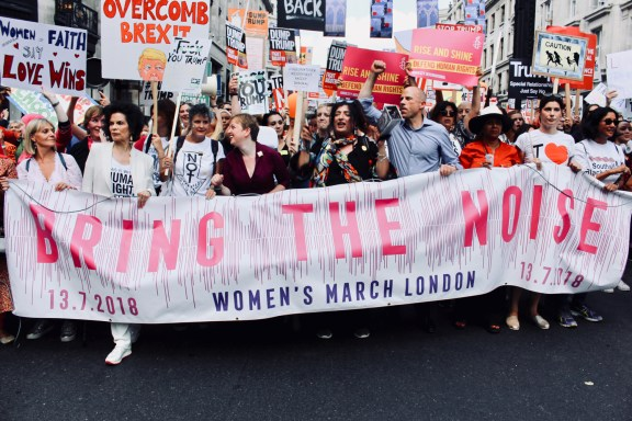 Photograph of protest vanguard at the BRING THE NOISE Women's March on Friday 13th July in London.