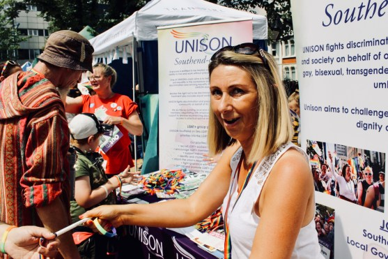 Photograph of UNISON stall at Southend Pride Festival at Warrior Square Gardens.