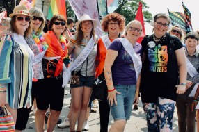 Photograph of Southend Pride Parade at the Royal Plaza, Southend-on-Sea.