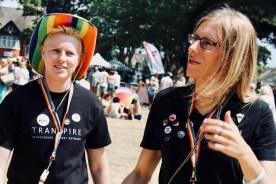 Photograph of TRANSPIRE members at Southend Pride Festival at Warrior Square Gardens.