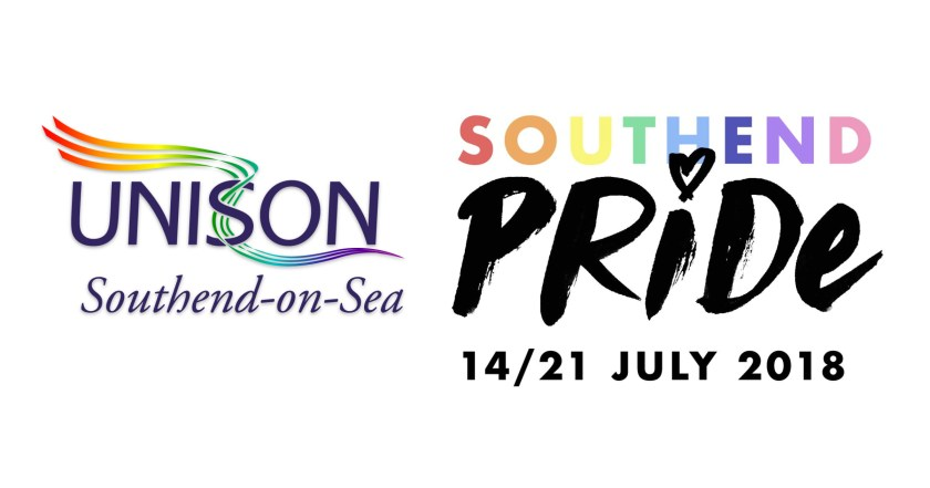 "Announcement graphic showing UNISON Southend-on-Sea logo with LGBT+ Rainbow Flag coloured ribbons alongside Southend Pride logo and text reading: ""Southend Pride 14–21 July 2018"""
