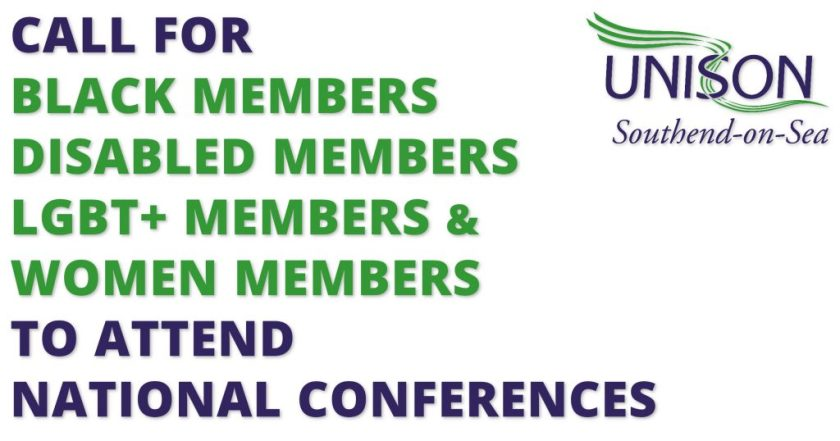 """Announcement graphic reading: """"CALL FOR BLACK MEMBERS; DISABLED MEMBERS; LESBIAN, GAY, BISEXUAL AND TRANSGENDER MEMBERS; AND WOMEN MEMBERS TO ATTENDED NATIONAL CONFERENCES."""""""