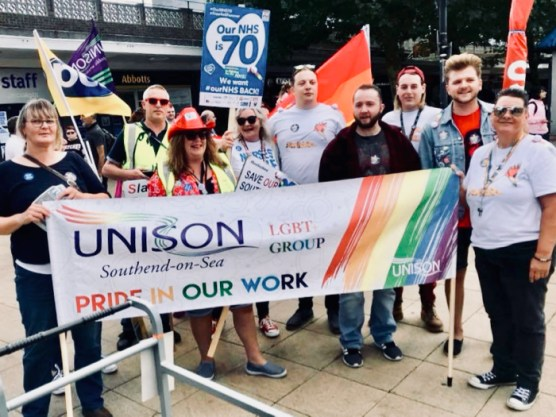 Photograph of Southend UNISON members on the Basildon mini-Pride March.