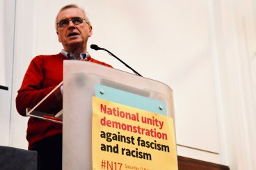 Photograph of John McDonnell (Labour Party MP, Hayes and Harlington | Shadow Chancellor of the Exchequer) addressing attendees at STAND UP TO RACISM International Conference 2018.