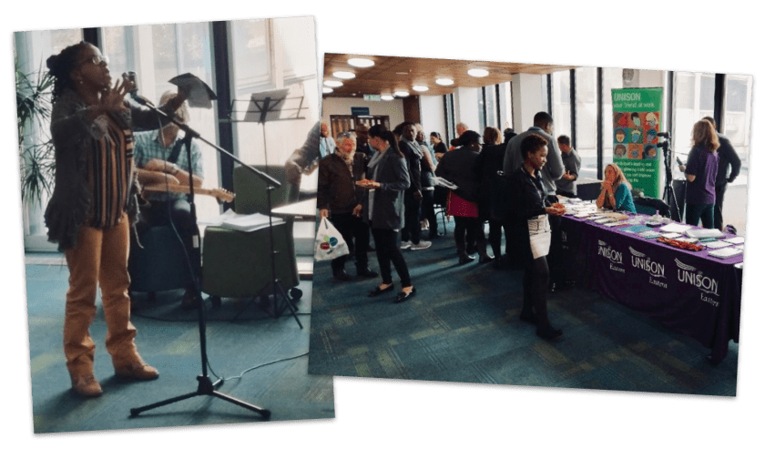 Photographs showing guest speaker Josephine Melville (left) and Southend UNISON stall (right) at this year's Black History Month event at Southend Borough Council.