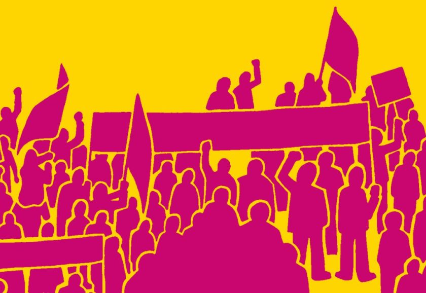 Graphic depicting numerous demonstrators in shocking pink silhouette on a yellow background.