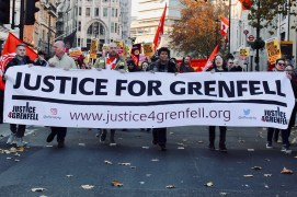 Photograph of Justice for Grenfell and Fire Brigades Union at the National Unity Demonstration on Saturday 17th November 2018.