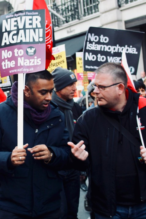 Photograph of anti-racists at the National Unity Demonstration on Saturday 17th November 2018.
