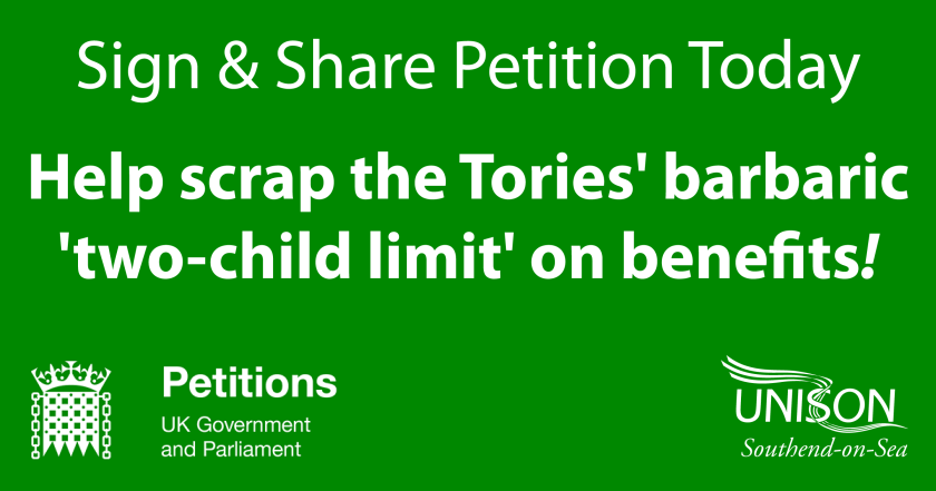 "Announcement graphic reading: ""Sign & Share Petition Today – Help scrap the Tories' barbaric 'two-child limit' on benefits!"""