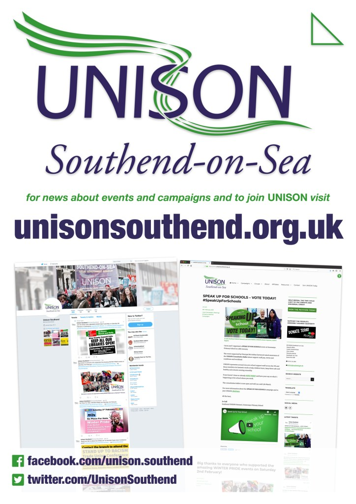 Image of Southend UNISON website poster – displayed here for decorative purposes.