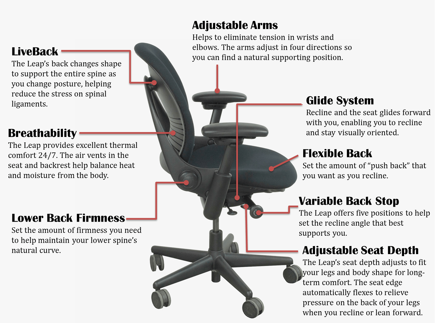 ergonomic chair diagram navy accent steelcase leap 1 office  unisource furniture