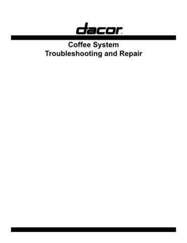 Dacor CM24-1 Coffee System Technical Service Manual by