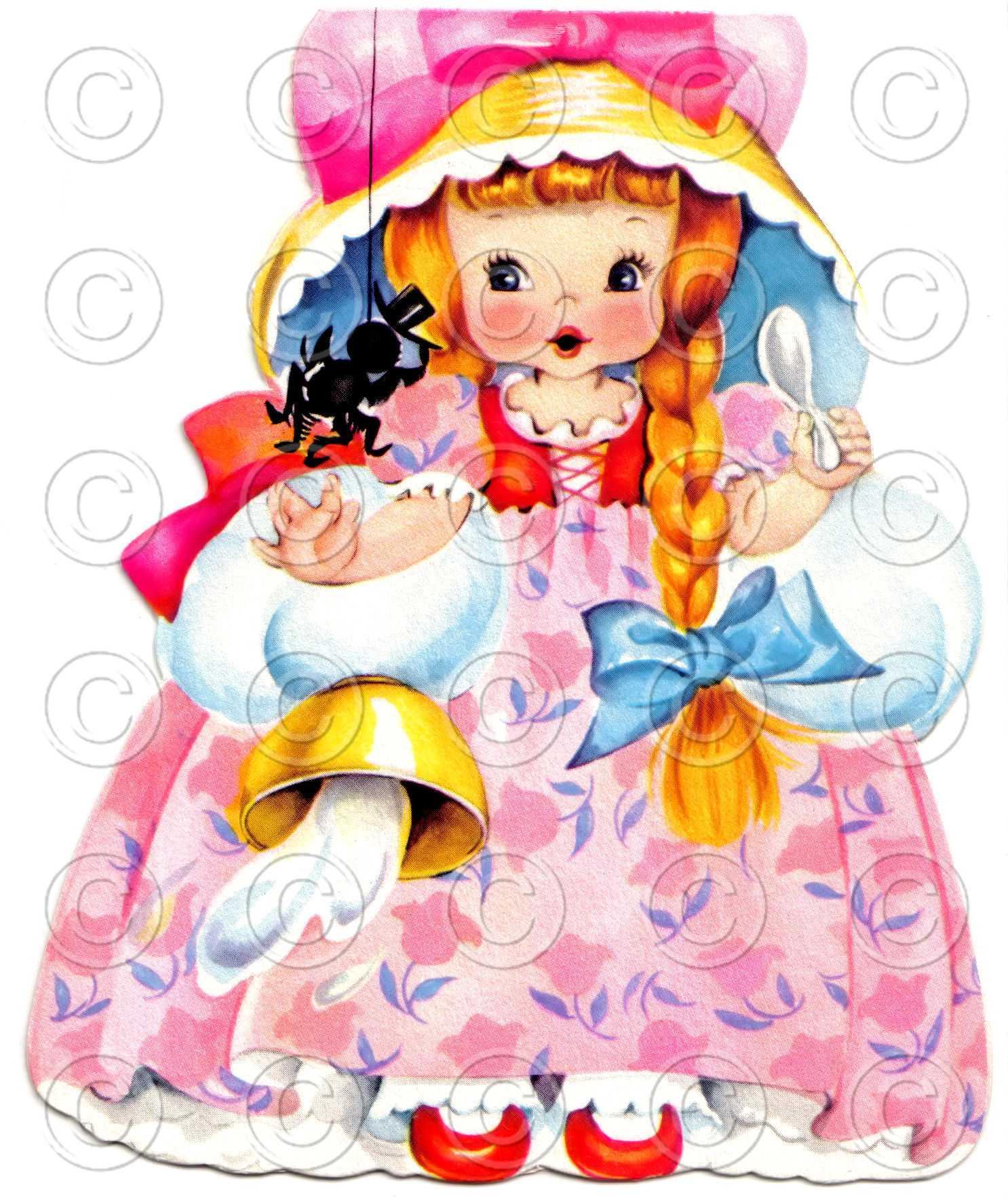 Little Miss Muffet Nursery Rhyme Doll Card Vintage Digital