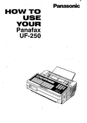 Panasonic UF250 Operating Instruction Book by download
