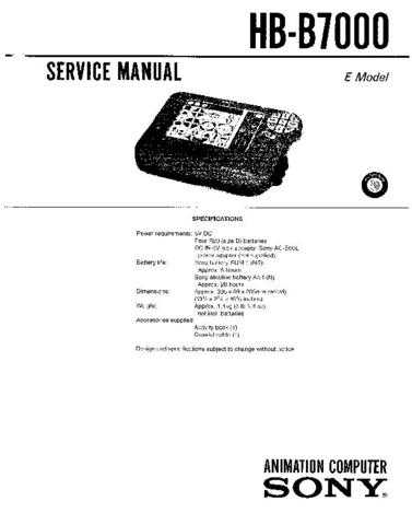 Sony HB-B7000 Service Manual by download Mauritron #240854
