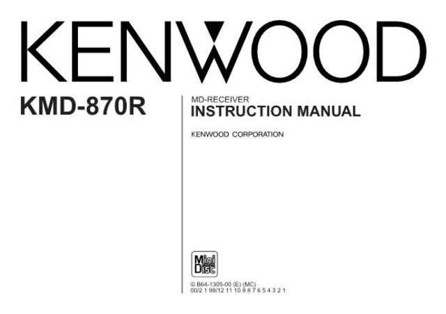 Kenwood KMD-870R Operating Guide by download Mauritron