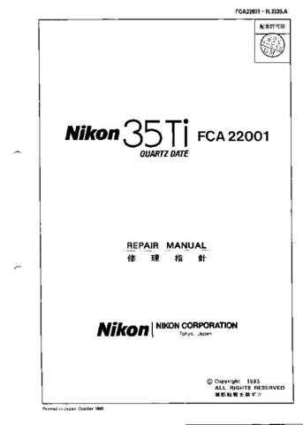 NIKON 35Ti Repair Manual by download Mauritron #265819 For