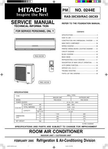 Hitachi 0240E(RAS_RAC-10EX9) Service Manual by download