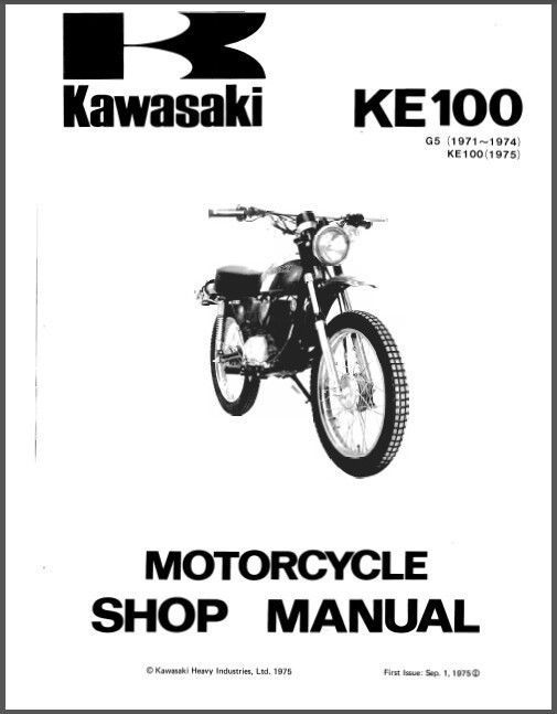 Kawasaki Ke100 G5 Complete Workshop Repair Manual 1971