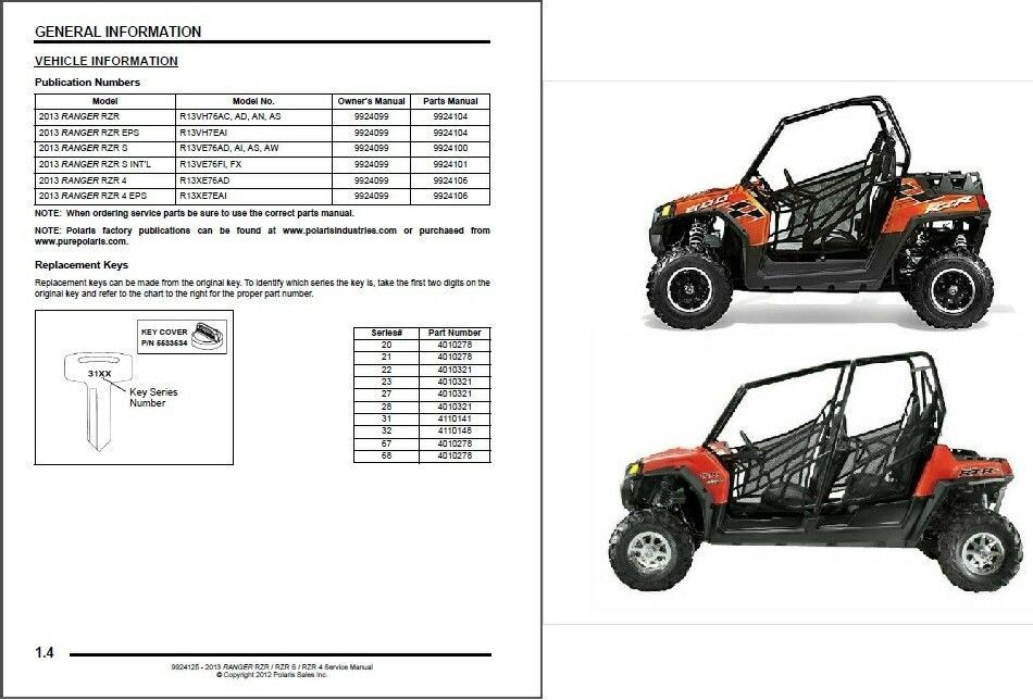 2013 Polaris Ranger Rzr 800 Rzr S Rzr 4 Service Manual